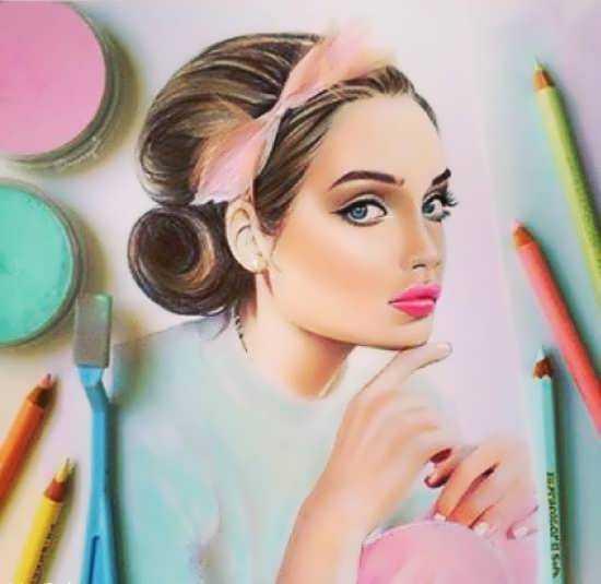 عکس پروفایل نقاشی دختر + جملات دخترانه زیبا
